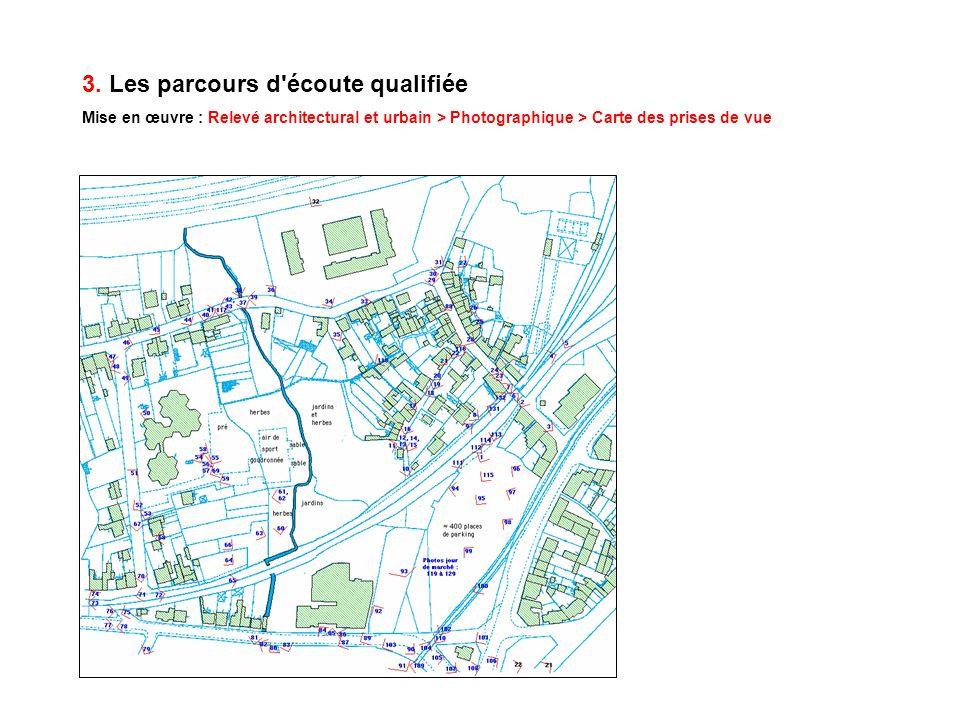3. Les parcours d'écoute qualifiée Mise en œuvre : Relevé architectural et urbain > Photographique > Carte des prises de vue