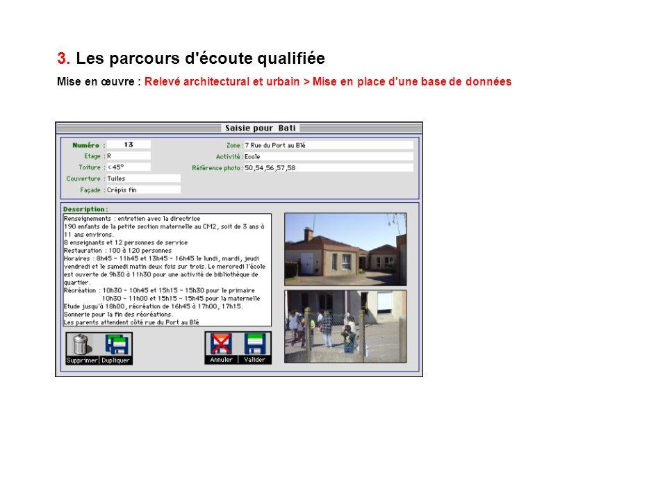 3. Les parcours d'écoute qualifiée Mise en œuvre : Relevé architectural et urbain > Mise en place d'une base de données