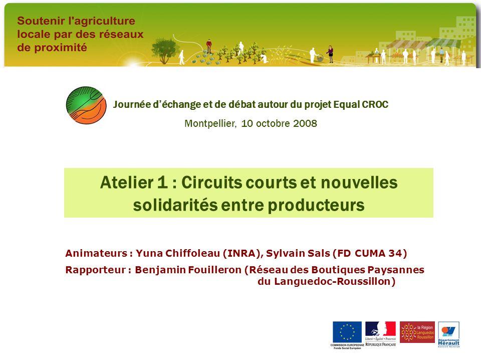 Atelier 1 : Circuits courts et nouvelles solidarités entre producteurs Animateurs : Yuna Chiffoleau (INRA), Sylvain Sals (FD CUMA 34) Rapporteur : Ben