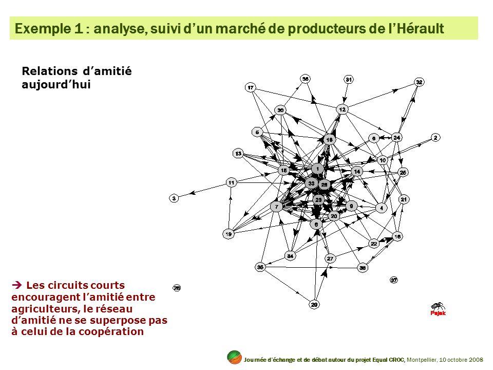 Relations damitié aujourdhui Exemple 1 : analyse, suivi dun marché de producteurs de lHérault Les circuits courts encouragent lamitié entre agriculteu