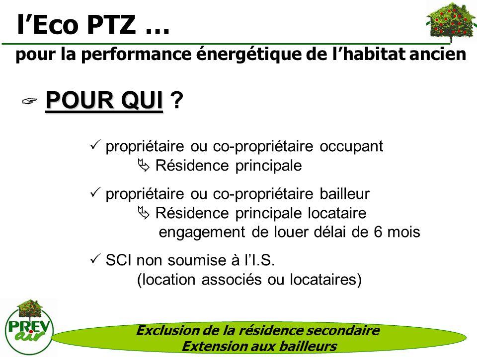 pour la performance énergétique de lhabitat ancien propriétaire ou co-propriétaire occupant Résidence principale propriétaire ou co-propriétaire baill