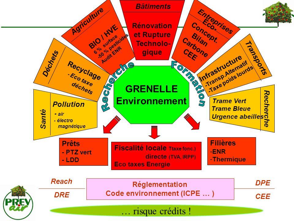 GRENELLE Environnement Réglementation Code environnement (ICPE … ) Reach DRE DPE CEE Prêts - PTZ vert - LDD Fiscalité locale Ttaxe fonc.) directe (TVA