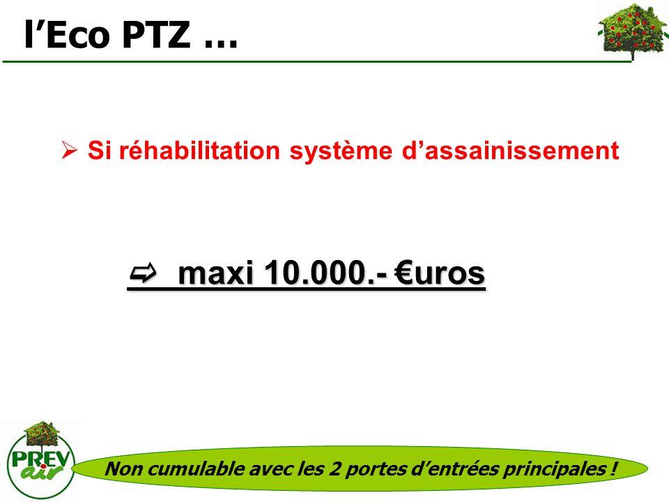 Si réhabilitation système dassainissement lEco PTZ … maxi 10.000.- uros maxi 10.000.- uros Non cumulable avec les 2 portes dentrées principales !