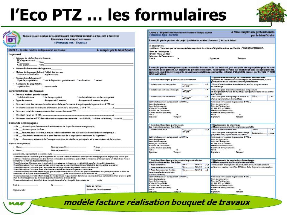 lEco PTZ … les formulaires modèle facture réalisation bouquet de travaux