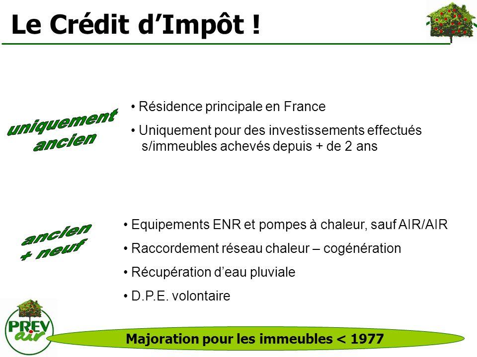 Le Crédit dImpôt ! Majoration pour les immeubles < 1977 Résidence principale en France Uniquement pour des investissements effectués s/immeubles achev