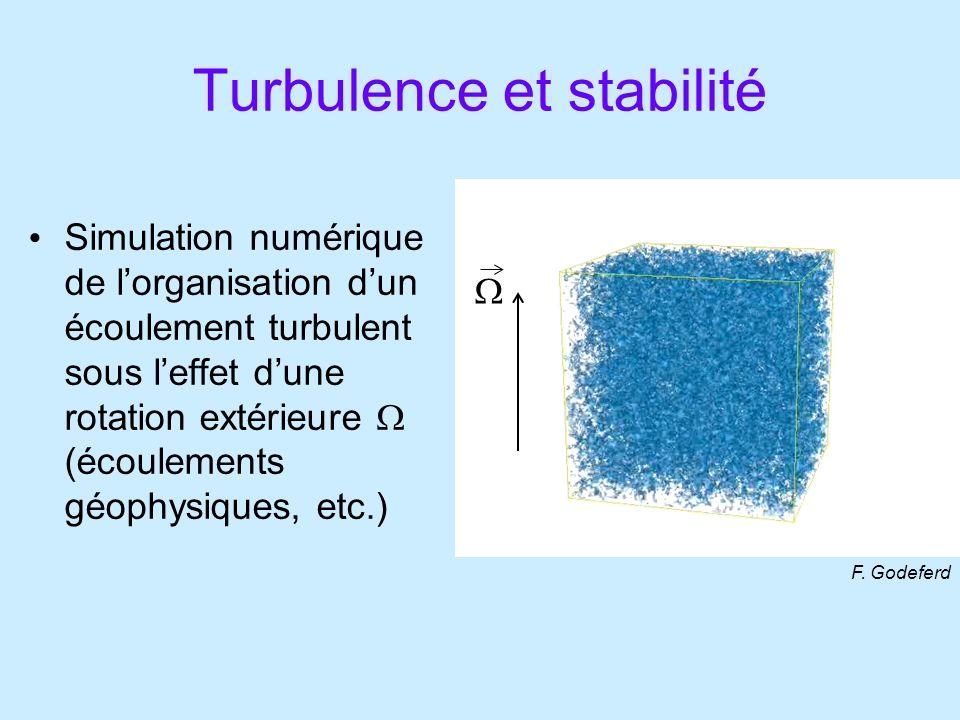 Turbulence et stabilité Simulation numérique de lorganisation dun écoulement turbulent sous leffet dune rotation extérieure (écoulements géophysiques, etc.) F.