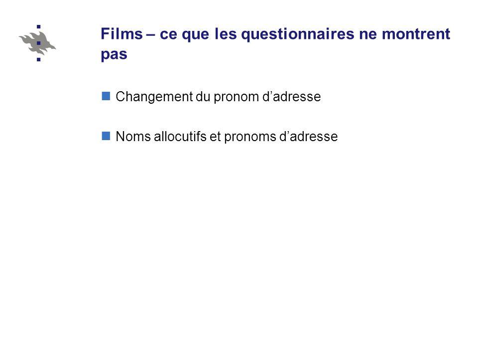 Films – ce que les questionnaires ne montrent pas Changement du pronom dadresse Noms allocutifs et pronoms dadresse