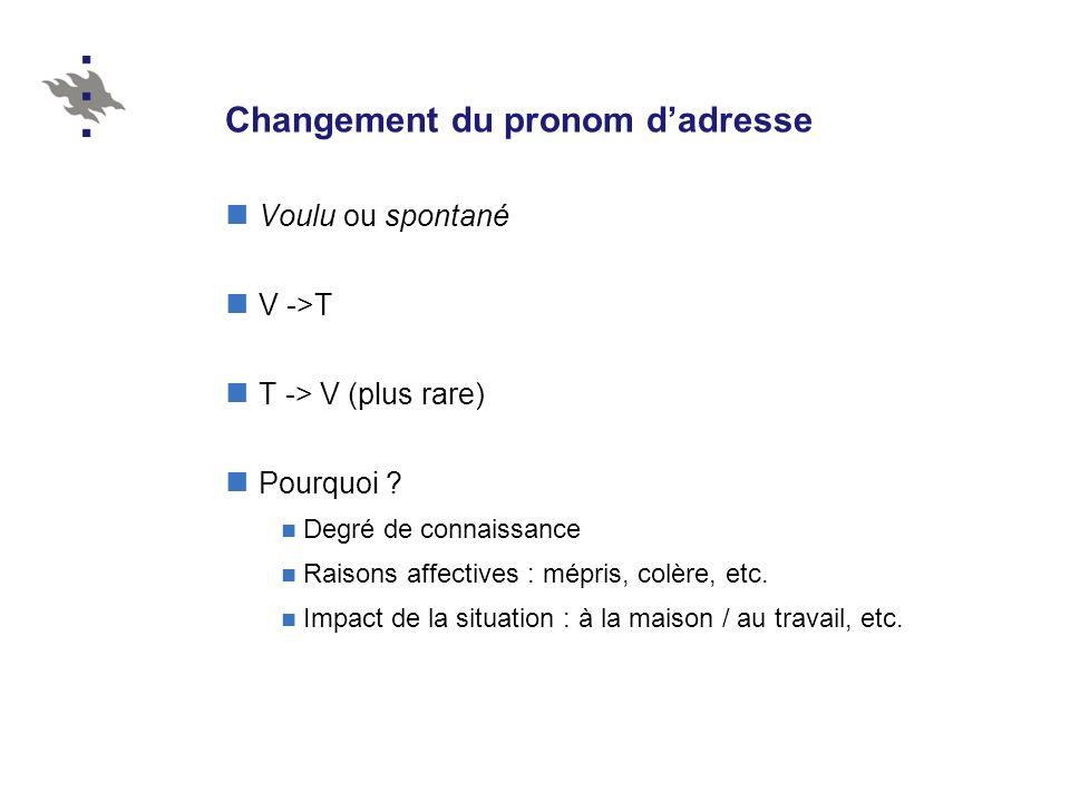 Changement du pronom dadresse Voulu ou spontané V ->T T -> V (plus rare) Pourquoi .
