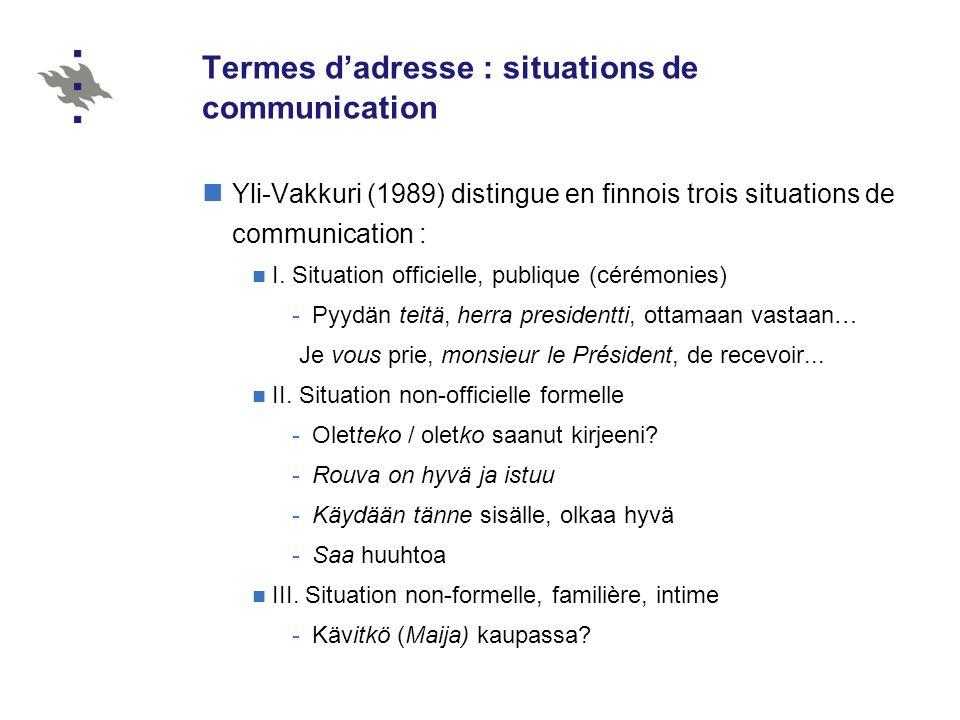 Termes dadresse : situations de communication Yli-Vakkuri (1989) distingue en finnois trois situations de communication : I.