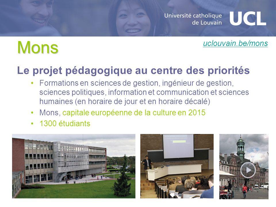 Mons Le projet pédagogique au centre des priorités Formations en sciences de gestion, ingénieur de gestion, sciences politiques, information et commun