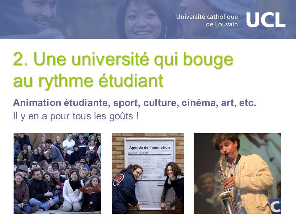 2. Une université qui bouge au rythme étudiant Animation étudiante, sport, culture, cinéma, art, etc. Il y en a pour tous les goûts !