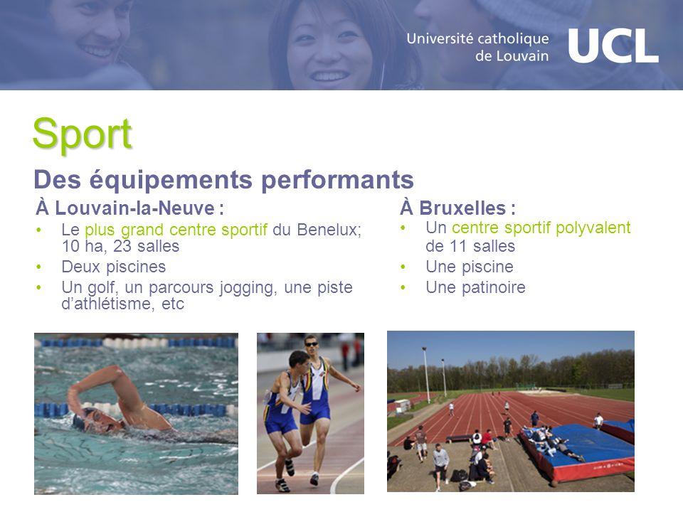Sport À Louvain-la-Neuve : Le plus grand centre sportif du Benelux; 10 ha, 23 salles Deux piscines Un golf, un parcours jogging, une piste dathlétisme