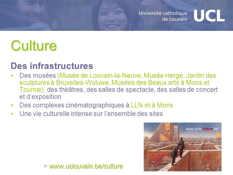 Culture Des infrastructures Des musées (Musée de Louvain-la-Neuve, Musée Hergé, Jardin des sculptures à Bruxelles-Woluwe, Musées des Beaux arts à Mons