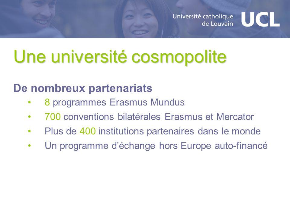 Une université cosmopolite De nombreux partenariats 8 programmes Erasmus Mundus 700 conventions bilatérales Erasmus et Mercator Plus de 400 institutio