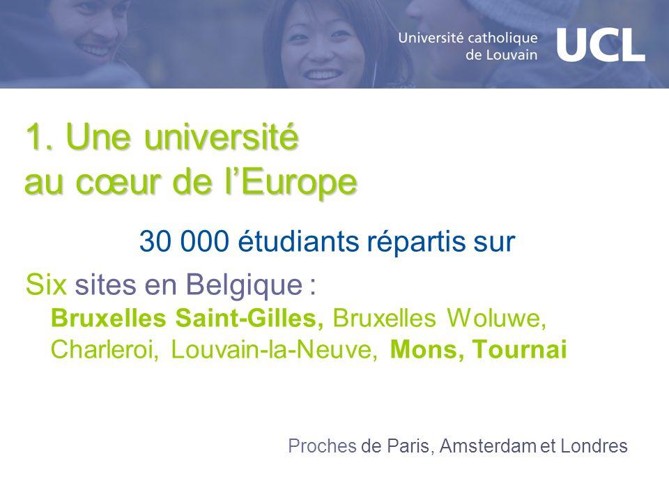 1. Une université au cœur de lEurope 30 000 étudiants répartis sur Six sites en Belgique : Bruxelles Saint-Gilles, Bruxelles Woluwe, Charleroi, Louvai