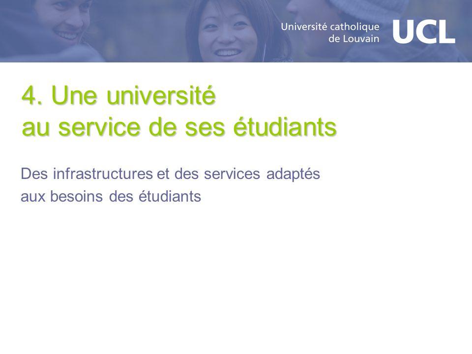 4. Une université au service de ses étudiants Des infrastructures et des services adaptés aux besoins des étudiants
