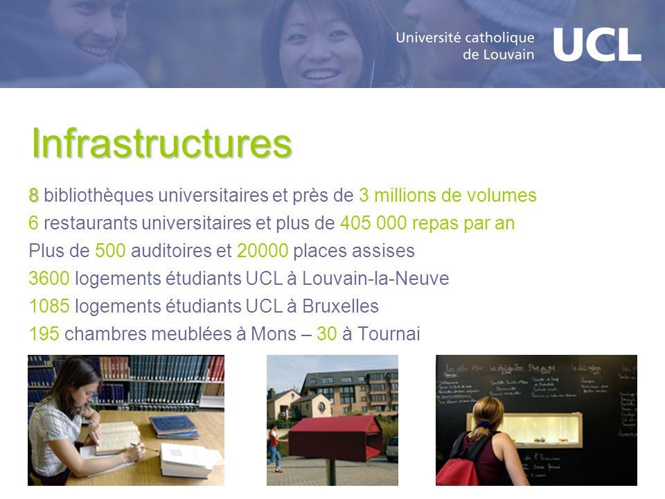 Infrastructures 8 8 bibliothèques universitaires et près de 3 millions de volumes 6 restaurants universitaires et plus de 405 000 repas par an Plus de