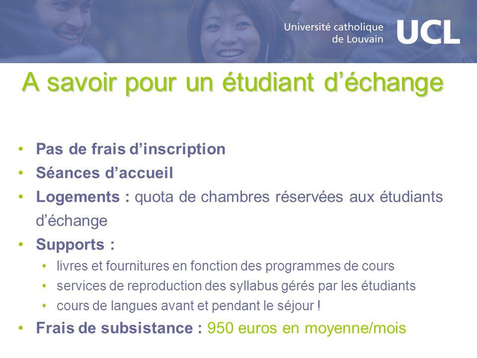 A savoir pour un étudiant déchange Pas de frais dinscription Séances daccueil Logements : quota de chambres réservées aux étudiants déchange Supports