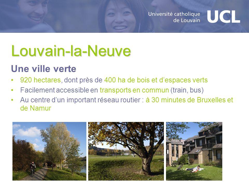 Louvain-la-Neuve Une ville verte 920 hectares, dont près de 400 ha de bois et despaces verts Facilement accessible en transports en commun (train, bus