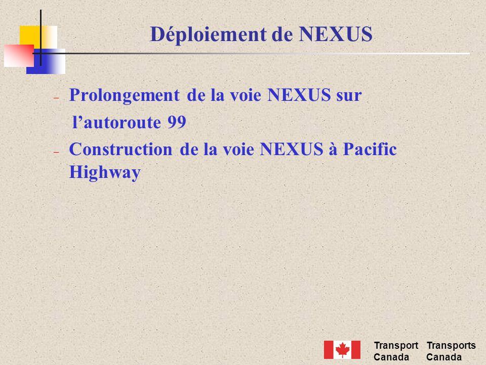 Transport Canada Transports Canada Déploiement de NEXUS – Prolongement de la voie NEXUS sur lautoroute 99 – Construction de la voie NEXUS à Pacific Hi