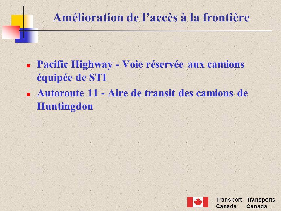 Transport Canada Transports Canada Amélioration de laccès à la frontière Pacific Highway - Voie réservée aux camions équipée de STI Autoroute 11 - Aire de transit des camions de Huntingdon