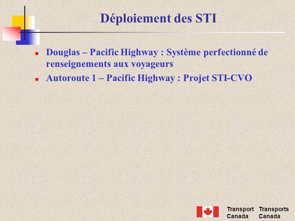 Transport Canada Transports Canada Déploiement des STI Douglas – Pacific Highway : Système perfectionné de renseignements aux voyageurs Autoroute 1 –