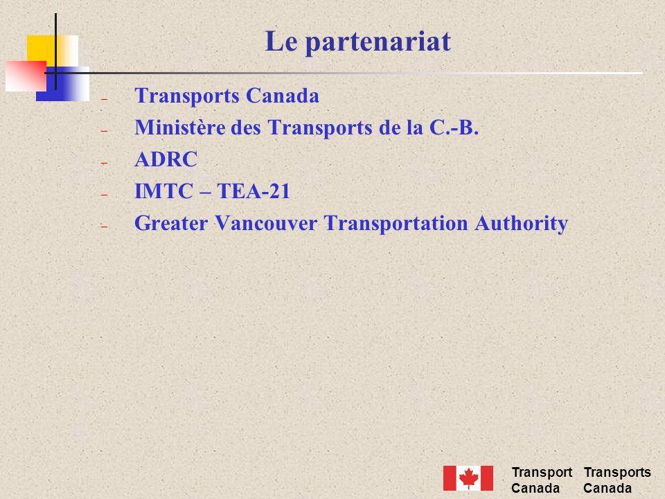 Transport Canada Transports Canada Le partenariat – Transports Canada – Ministère des Transports de la C.-B. – ADRC – IMTC – TEA-21 – Greater Vancouve