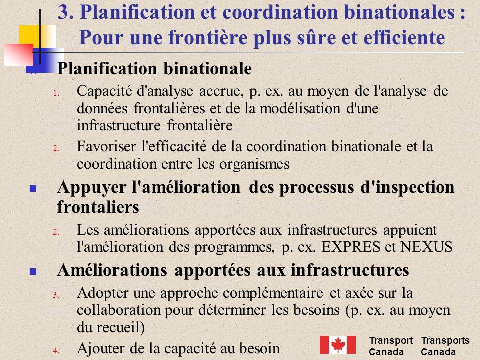 Transport Canada Transports Canada 3. Planification et coordination binationales : Pour une frontière plus sûre et efficiente 1. Planification binatio