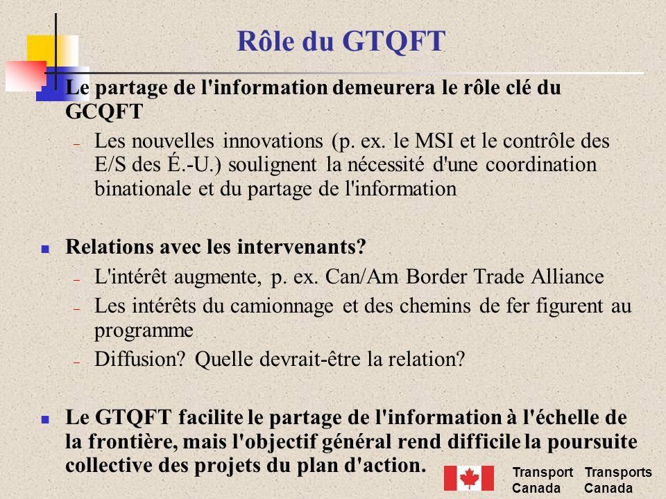 Transport Canada Transports Canada Rôle du GTQFT Le partage de l'information demeurera le rôle clé du GCQFT – Les nouvelles innovations (p. ex. le MSI