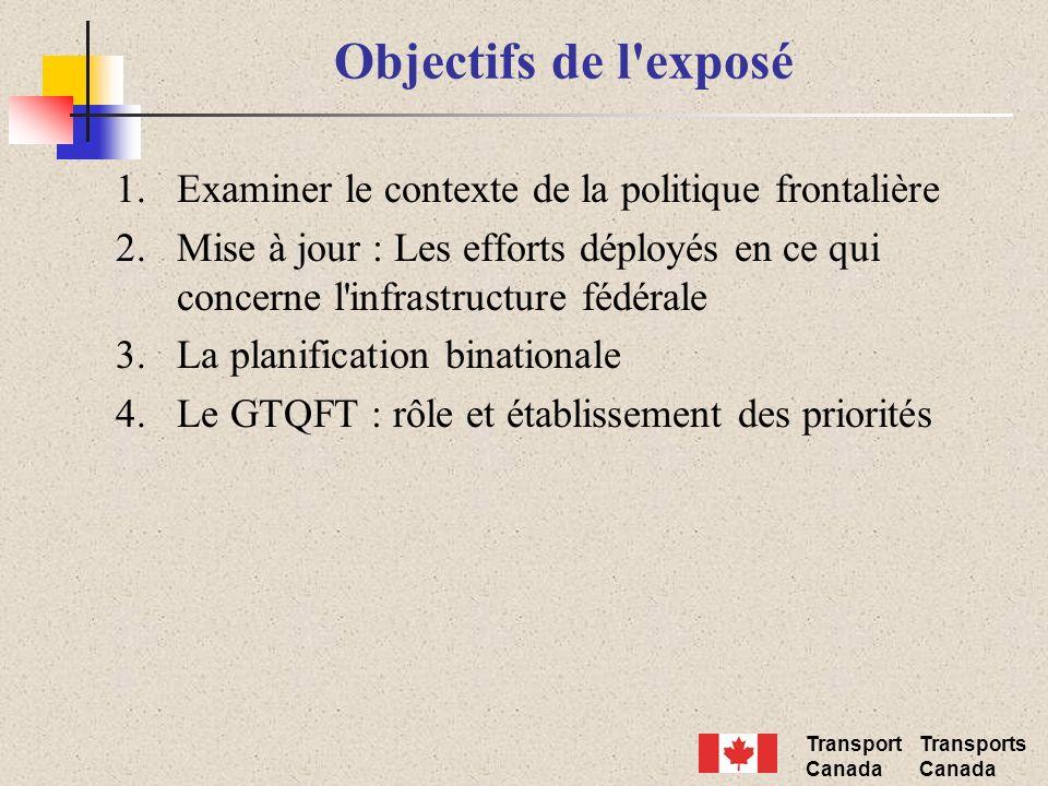 Transport Canada Transports Canada Objectifs de l exposé 1.Examiner le contexte de la politique frontalière 2.Mise à jour : Les efforts déployés en ce qui concerne l infrastructure fédérale 3.La planification binationale 4.Le GTQFT : rôle et établissement des priorités
