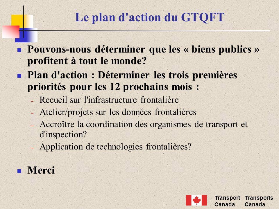 Transport Canada Transports Canada Le plan d'action du GTQFT Pouvons-nous déterminer que les « biens publics » profitent à tout le monde? Plan d'actio