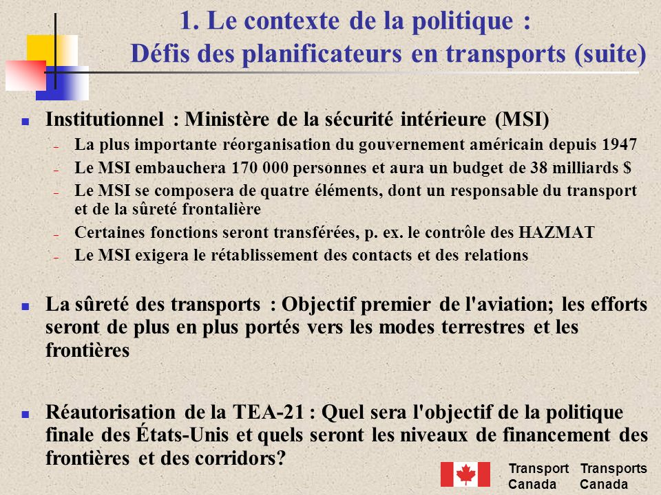 Transport Canada Transports Canada 1.
