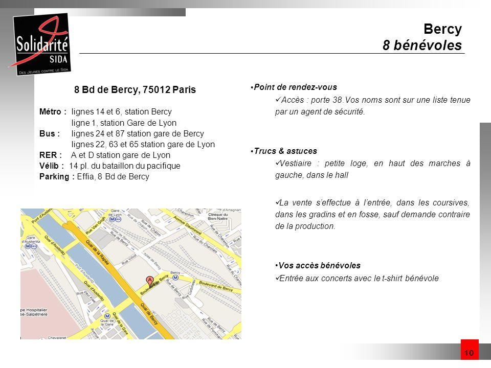 10 Bercy 8 bénévoles 8 Bd de Bercy, 75012 Paris Métro : lignes 14 et 6, station Bercy ligne 1, station Gare de Lyon Bus : lignes 24 et 87 station gare
