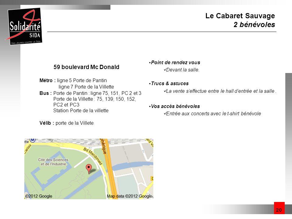 20 Le Cabaret Sauvage 2 bénévoles 59 boulevard Mc Donald Métro : ligne 5 Porte de Pantin ligne 7 Porte de la Villette Bus : Porte de Pantin : ligne 75