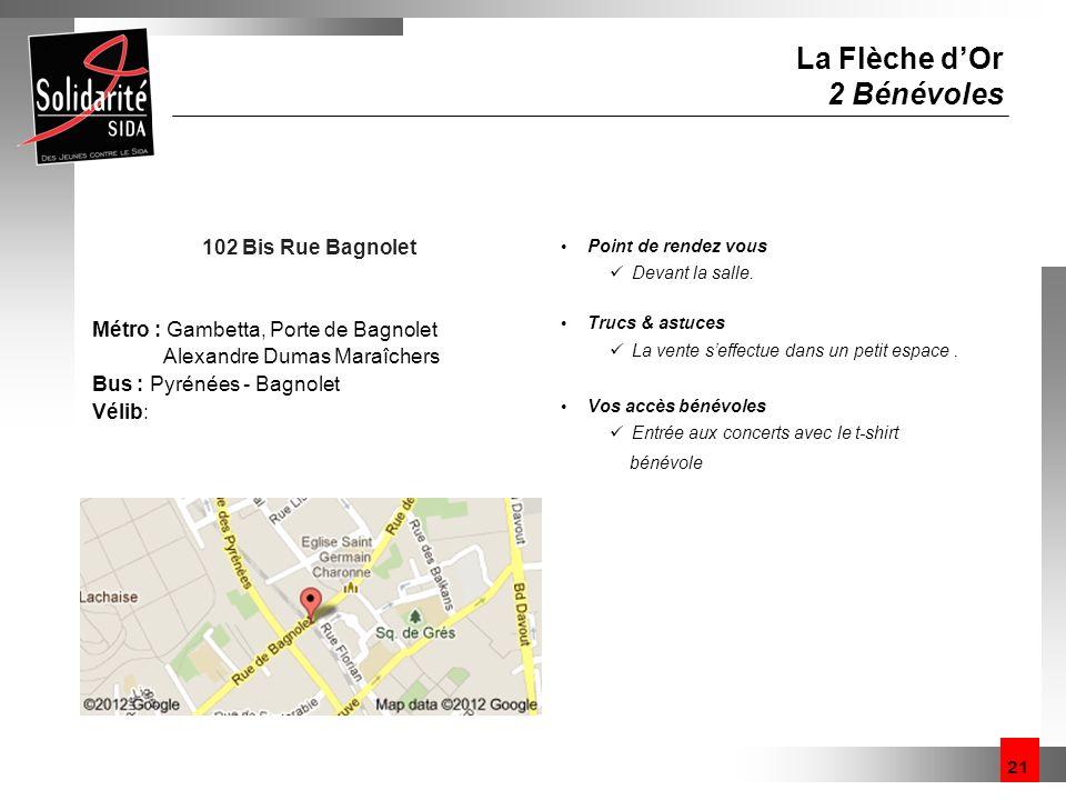 21 La Flèche dOr 2 Bénévoles 102 Bis Rue Bagnolet Métro : Gambetta, Porte de Bagnolet Alexandre Dumas Maraîchers Bus : Pyrénées - Bagnolet Vélib: Poin