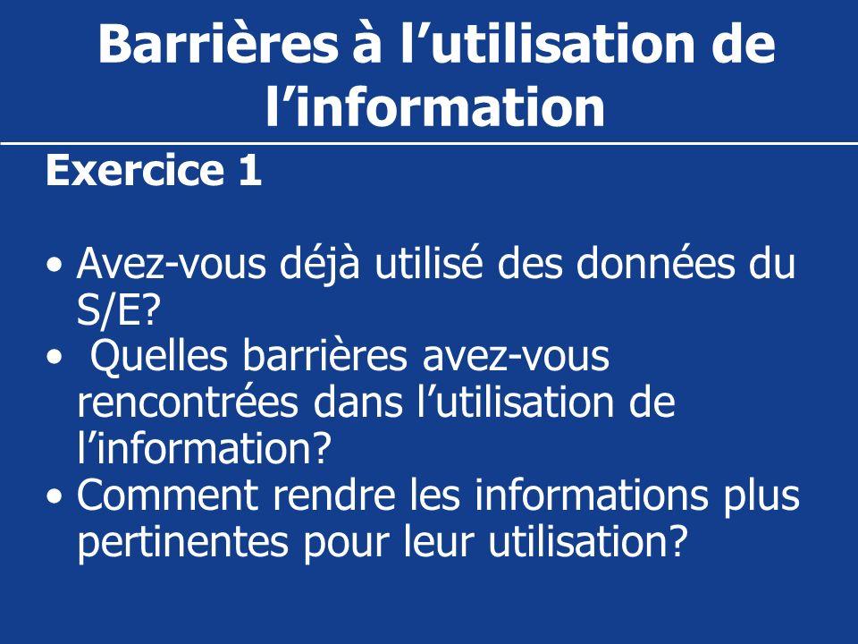 Exercice 1 Avez-vous déjà utilisé des données du S/E? Quelles barrières avez-vous rencontrées dans lutilisation de linformation? Comment rendre les in