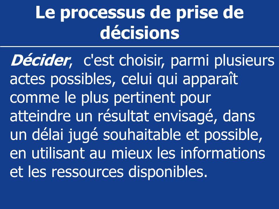 Le processus de prise de décisions Décider, c'est choisir, parmi plusieurs actes possibles, celui qui apparaît comme le plus pertinent pour atteindre