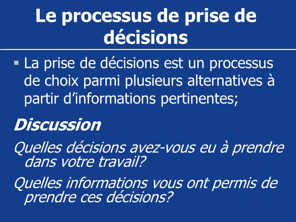 Le processus de prise de décisions La prise de décisions est un processus de choix parmi plusieurs alternatives à partir dinformations pertinentes; Di