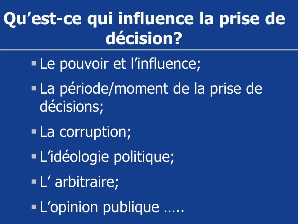 Quest-ce qui influence la prise de décision? Le pouvoir et linfluence; La période/moment de la prise de décisions; La corruption; Lidéologie politique