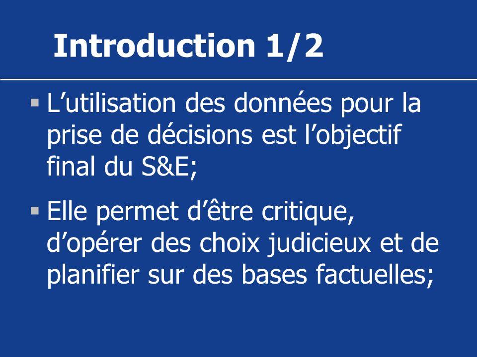 Introduction 1/2 Lutilisation des données pour la prise de décisions est lobjectif final du S&E; Elle permet dêtre critique, dopérer des choix judicie