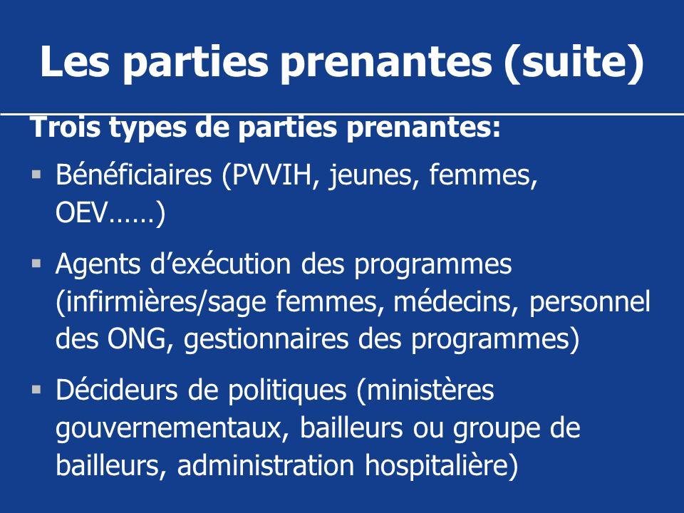 Les parties prenantes (suite) Trois types de parties prenantes: Bénéficiaires (PVVIH, jeunes, femmes, OEV……) Agents dexécution des programmes (infirmi