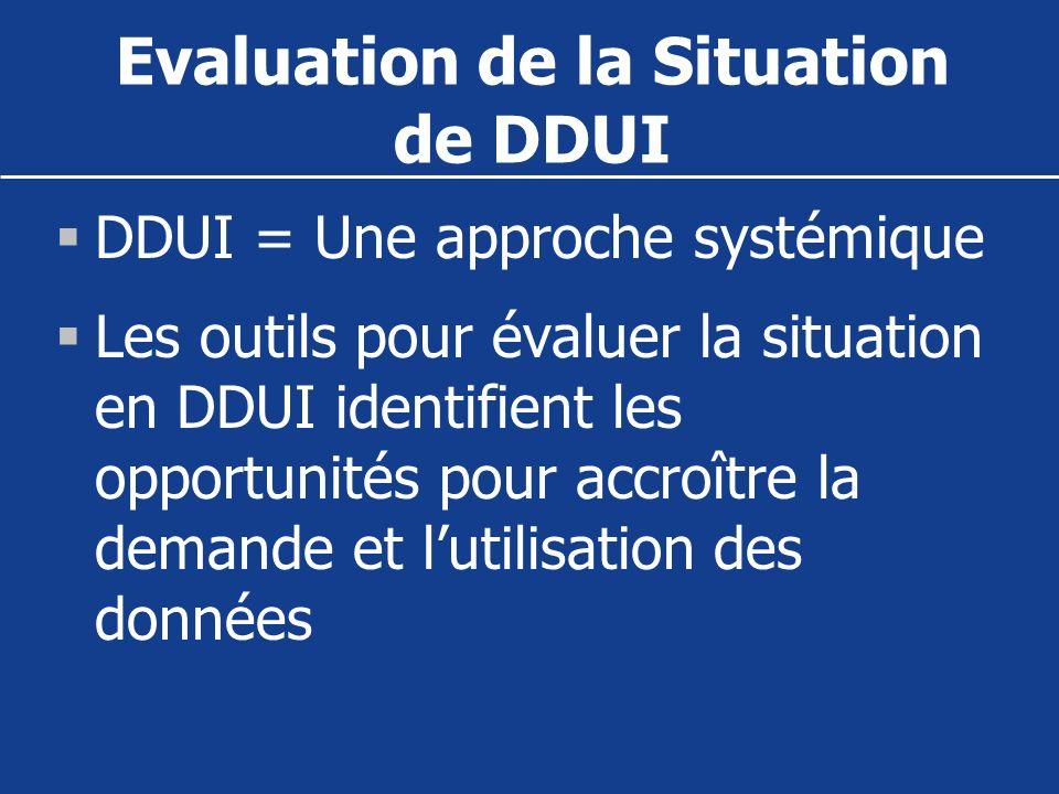 Evaluation de la Situation de DDUI DDUI = Une approche systémique Les outils pour évaluer la situation en DDUI identifient les opportunités pour accro