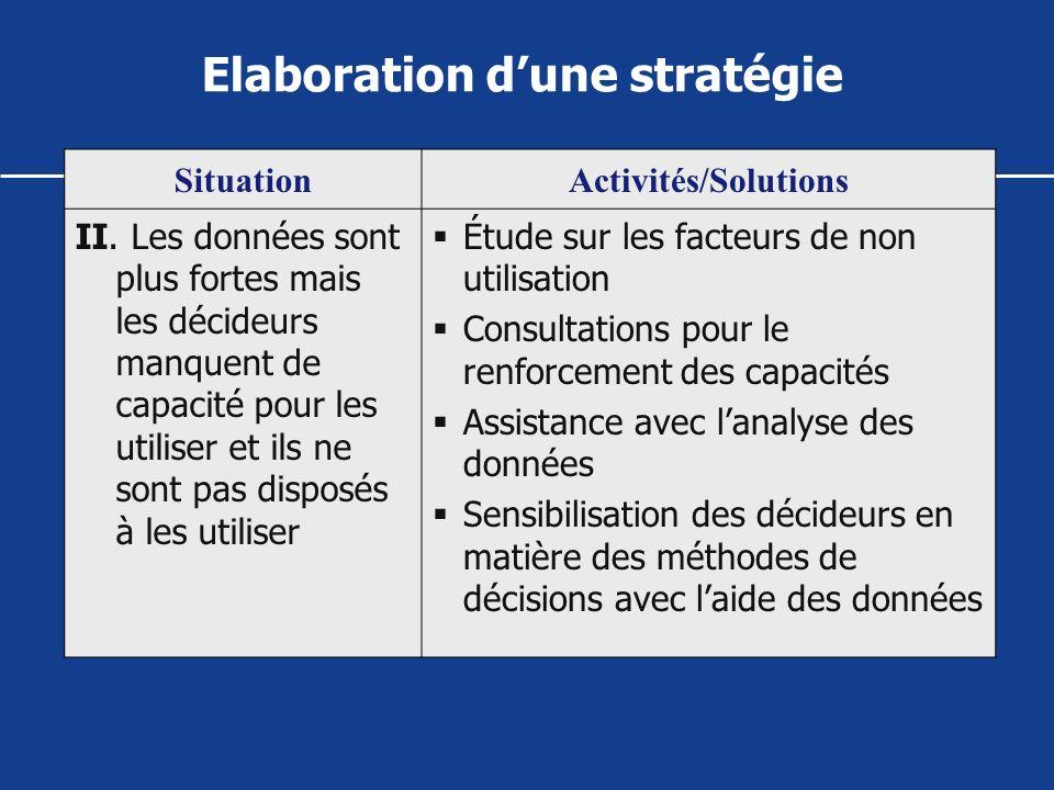 SituationActivités/Solutions II. Les données sont plus fortes mais les décideurs manquent de capacité pour les utiliser et ils ne sont pas disposés à