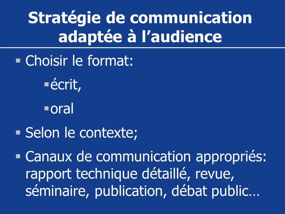 Stratégie de communication adaptée à laudience Choisir le format: écrit, oral Selon le contexte; Canaux de communication appropriés: rapport technique