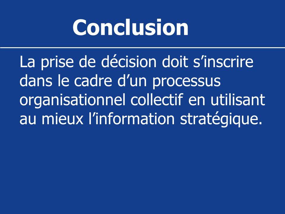Conclusion La prise de décision doit sinscrire dans le cadre dun processus organisationnel collectif en utilisant au mieux linformation stratégique.