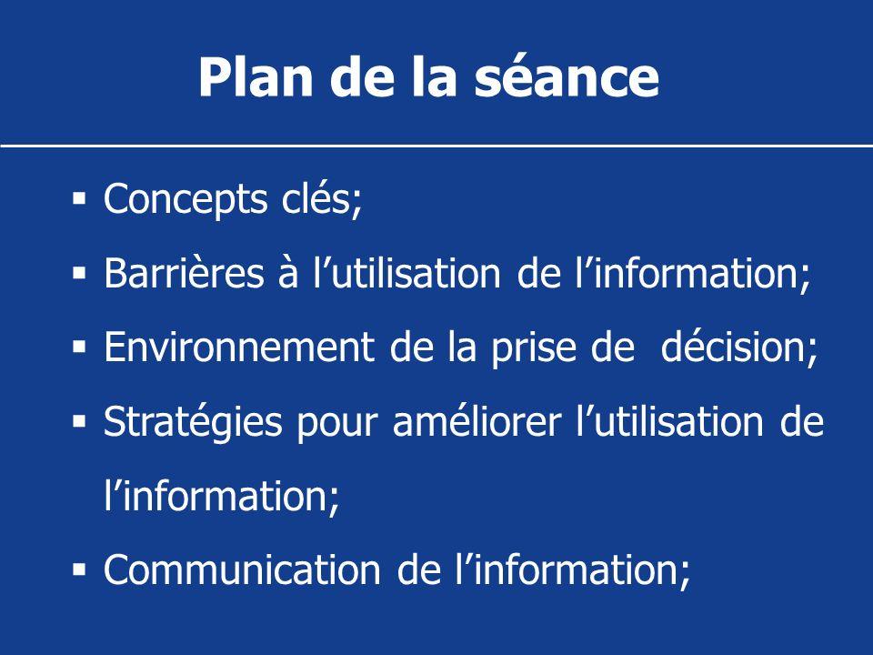 Plan de la séance Concepts clés; Barrières à lutilisation de linformation; Environnement de la prise de décision; Stratégies pour améliorer lutilisati