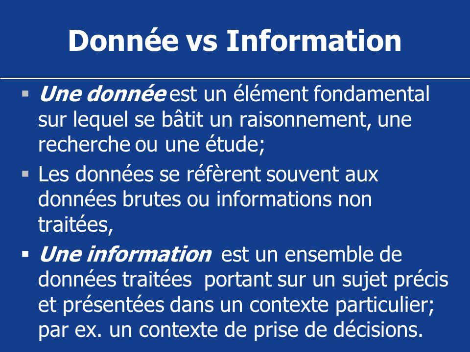 Donnée vs Information Une donnée est un élément fondamental sur lequel se bâtit un raisonnement, une recherche ou une étude; Les données se réfèrent s
