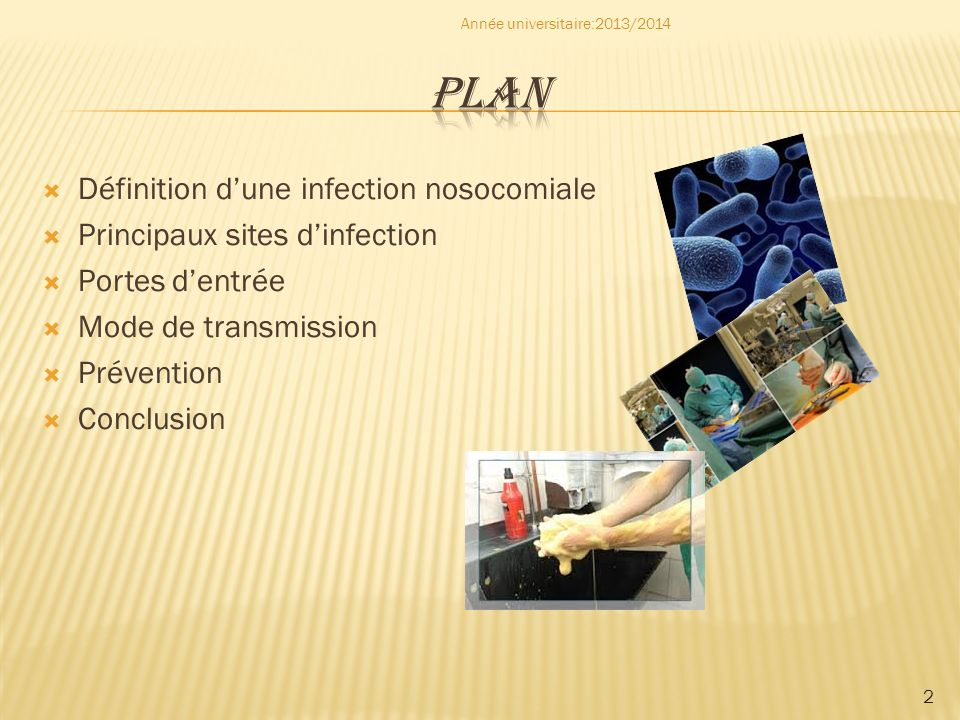 2 Définition dune infection nosocomiale Principaux sites dinfection Portes dentrée Mode de transmission Prévention Conclusion