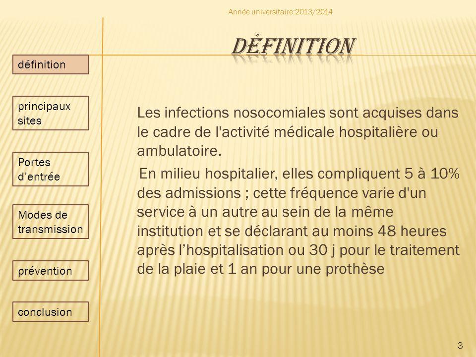 Les infections nosocomiales sont acquises dans le cadre de l'activité médicale hospitalière ou ambulatoire. En milieu hospitalier, elles compliquent 5