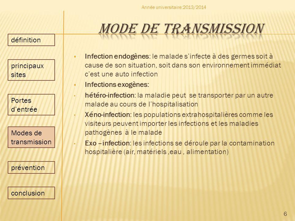 Infection endogènes: le malade sinfecte à des germes soit à cause de son situation, soit dans son environnement immédiat cest une auto infection Infec